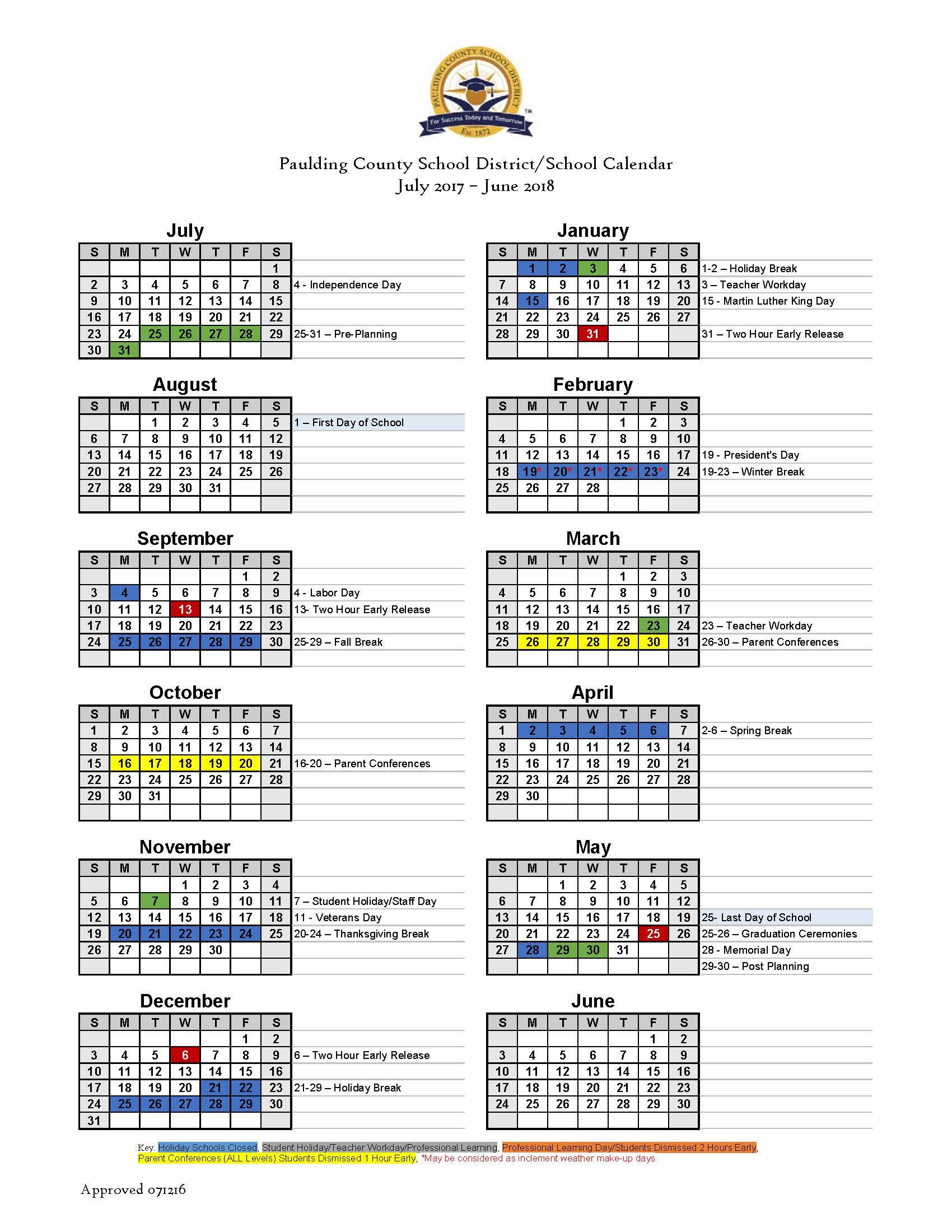 Paulding County School Calendar Back To School 2017 in Cobb & Paulding Counties