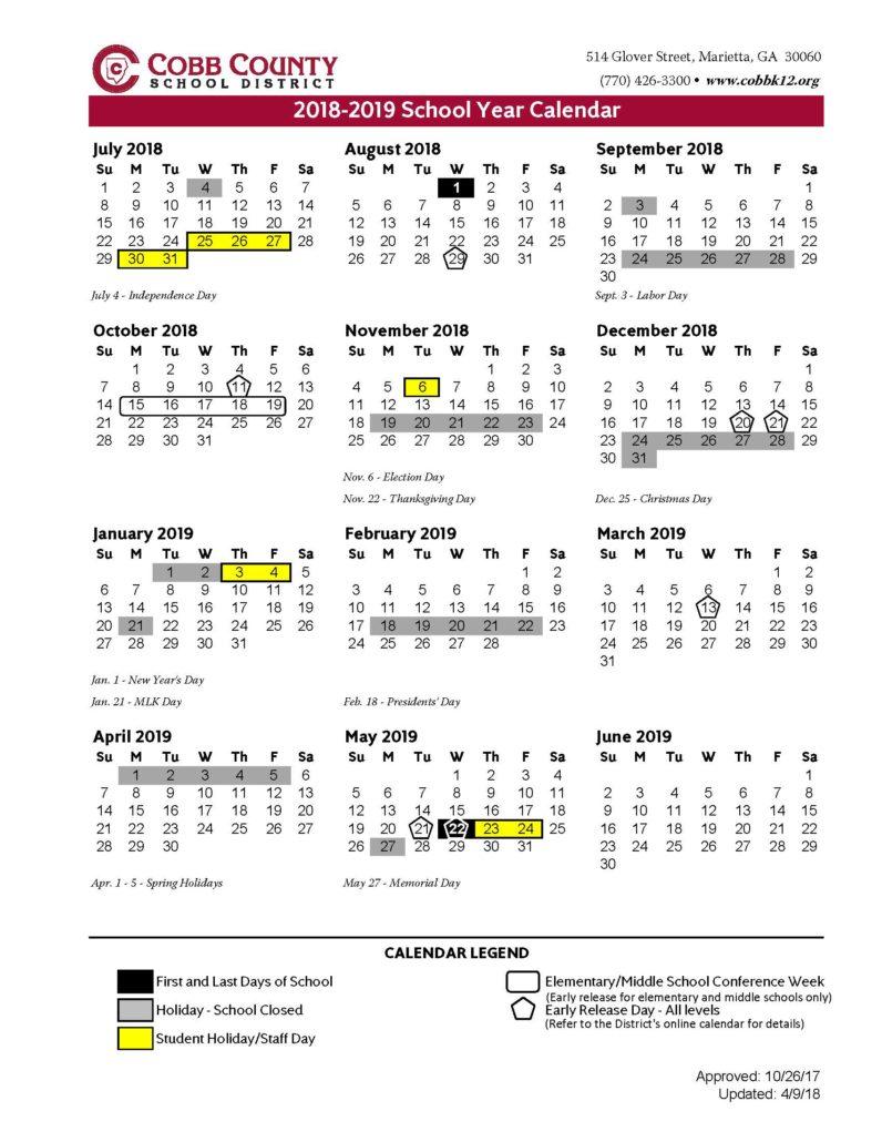 cobb county school calendar 2019